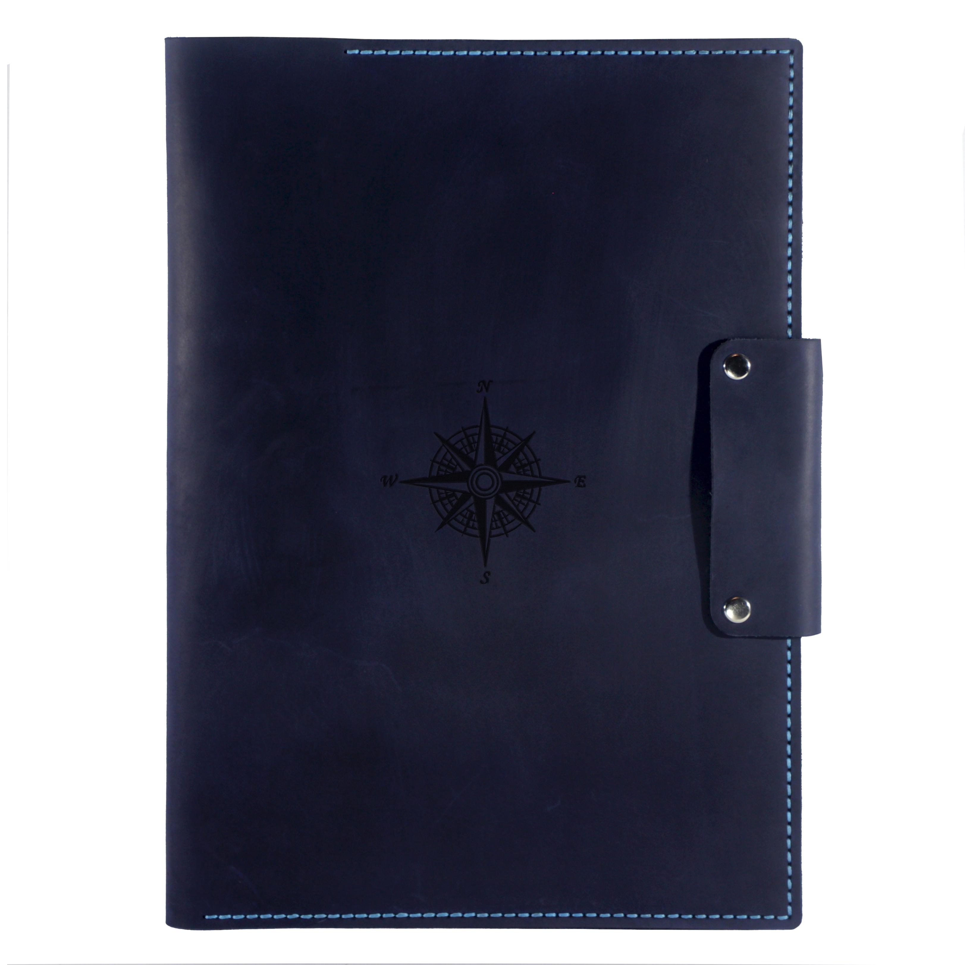 Кожаная папка для документов Anchor Stuff Подарок моряку А4 Темно-синяя