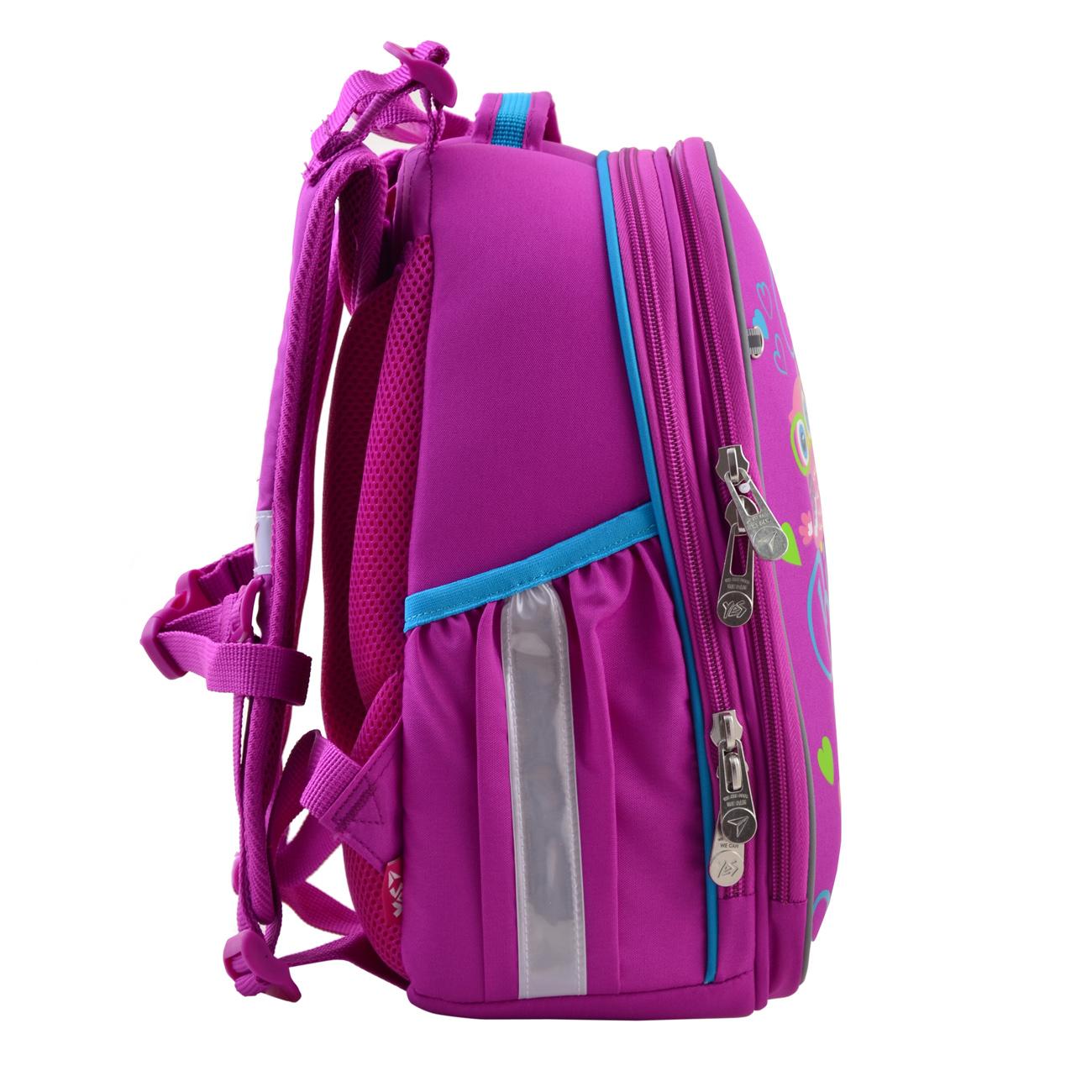 Рюкзак шкільний каркасний YES H-25 Funny Birdies Бордовий