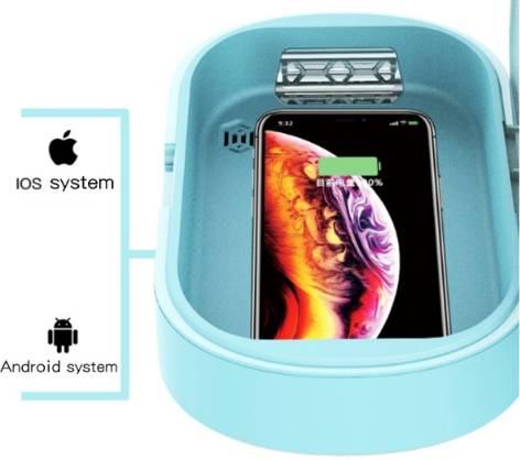 Портативний стирилизатор для телефону Brano з функцією бездротової зарядки М'ятний